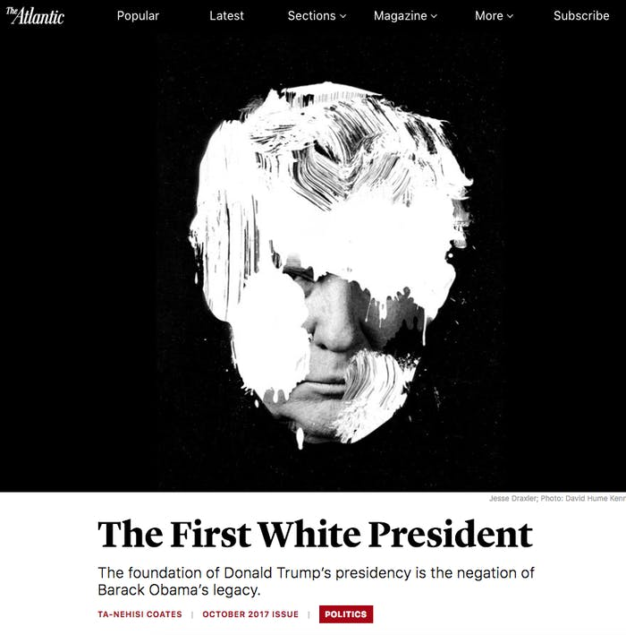 """""""The First White President"""" as it appeared in The Atlantic."""