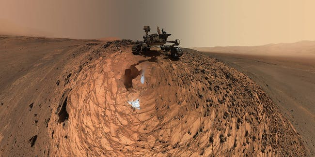 Low-angle self-portrait of NASA's Curiosity Mars rover.