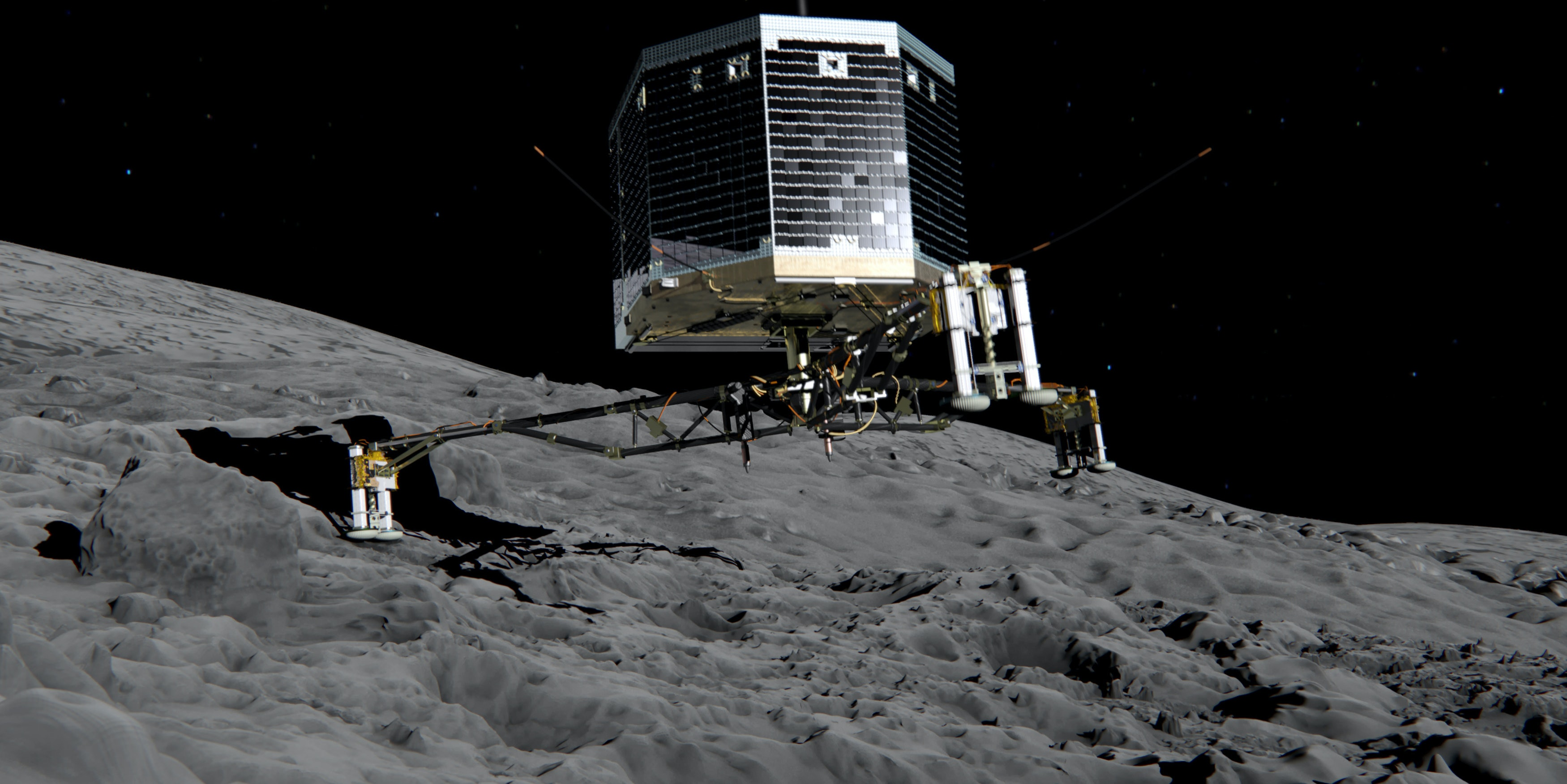 DARMSTADT, GERMANY - NOVEMBER 12:  (EDITORIAL USE ONLY) In this February 17, 2014 handout photo illustration provided by the European Space Agency (ESA) the Philae lander is pictured descending onto the 67P/Churyumov-Gerasimenko comet. ESA will attempt to land the Philae lander onto the comet in the afternoon (GMT) of November 12 which, if successful, will be the first time ever that a man-made craft has landed onto a comet. The Philae lander, launched from the Rosetta probe, is a mini laboratory that will harpoon itself to the surface, though a problem with a gas thruster detected November 11 is making the outcome of the landing uncertain.  (Photo ESA via Getty Images)