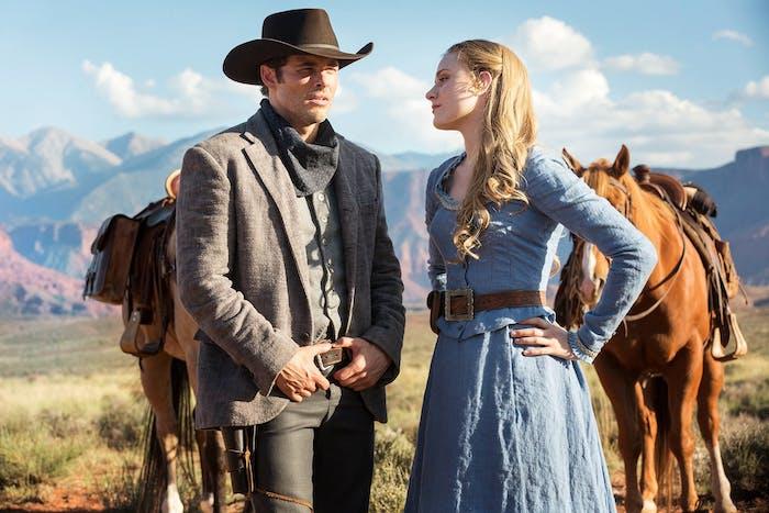 """James Marsden and Evan Rachel Wood in """"Westworld"""""""