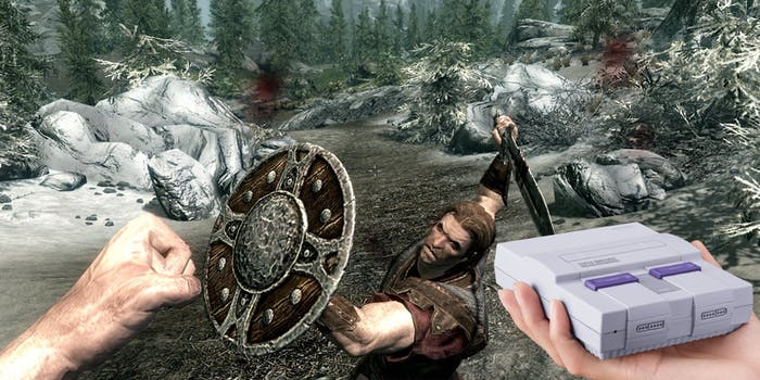 Can you really wield a SNES Classic against enemies in a new version of 'Skyrim'? No, of course not.