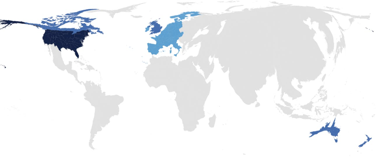Map of nations covered by psychological studies