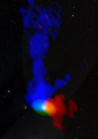 One of the protostar images from ALMA researchers are using to study the whirlwind phenomenon. Blue indicates gas moving toward us; red, gas moving away.