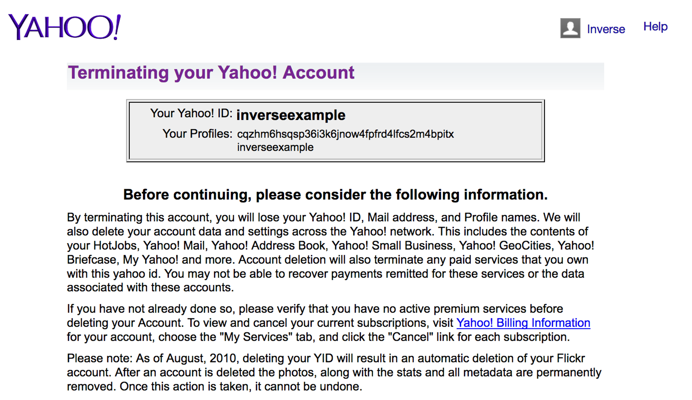 Yahoo tries to discourage users from deleting their accounts.