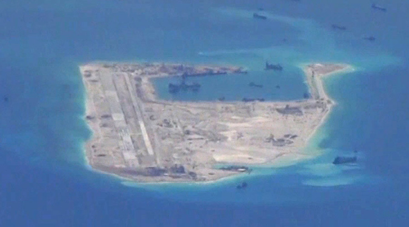 Fiery Cross Reef in the South China Sea in May 2015, at an early stage of construction.