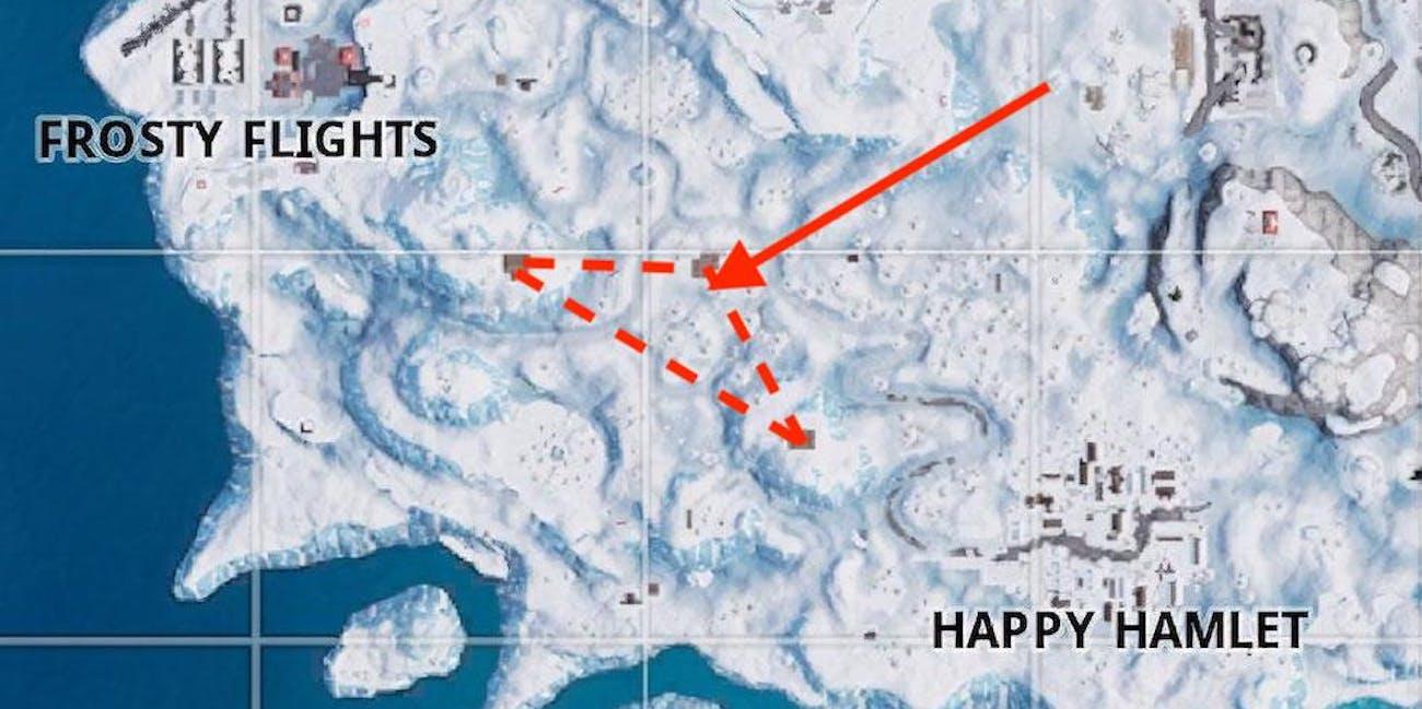 fortnite search between three ski lodges - where are the ski lodges in fortnite season seven