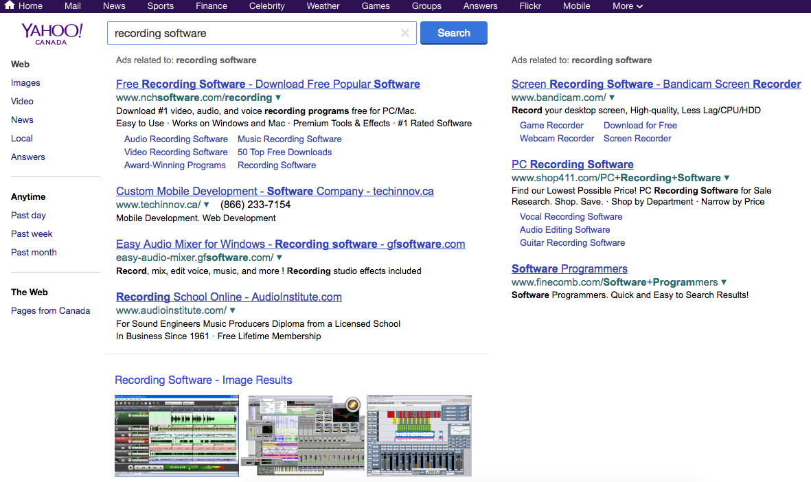 Yahoo searches for recording software: Not easy to use.