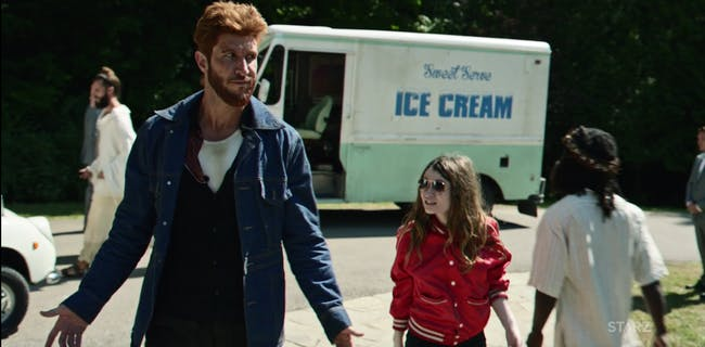Pablo Schreiber and Emily Browning in 'American Gods'