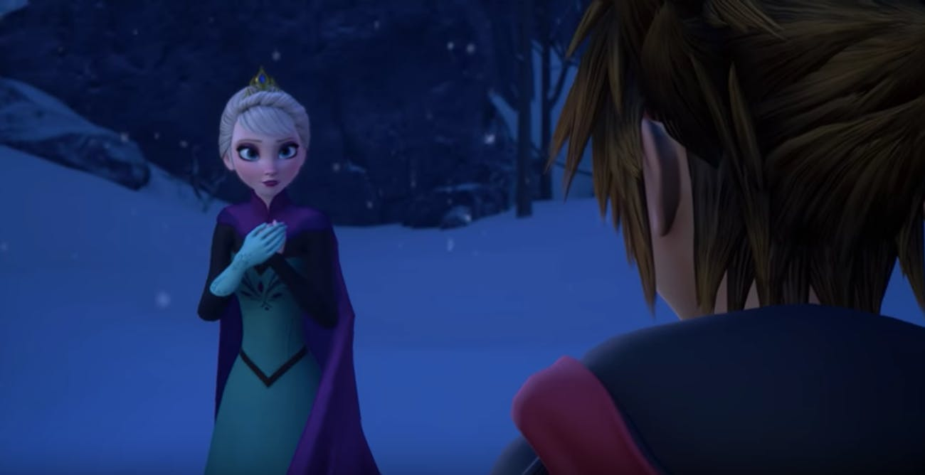 Sora encounters Elsa from 'Frozen' in 'Kingdom Hearts III'.