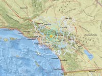 A map of the earthquake that hit the Los Angeles area on Tuesday, August 28, 2018. It was measured at 4.4 magnitude.