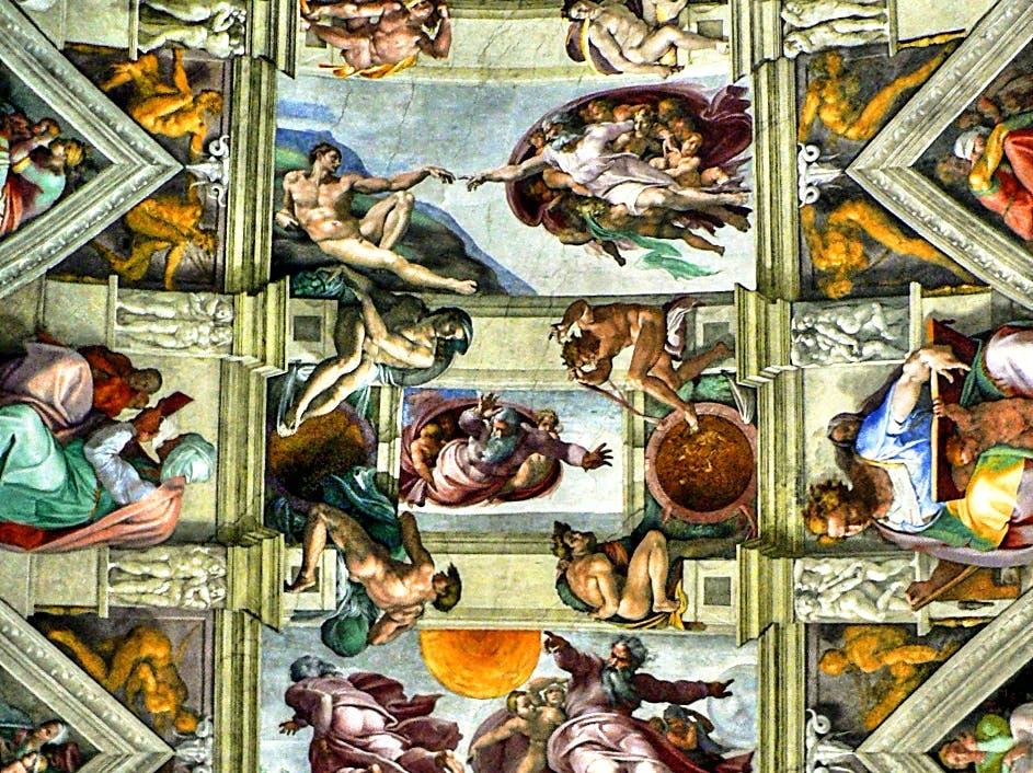 Rom - Vatikanische Museen, Die Erschaffung Adams (Mitte oben) – Deckengemälde von Michelangelo in der Sixtinischen Kapelle (8260275863)