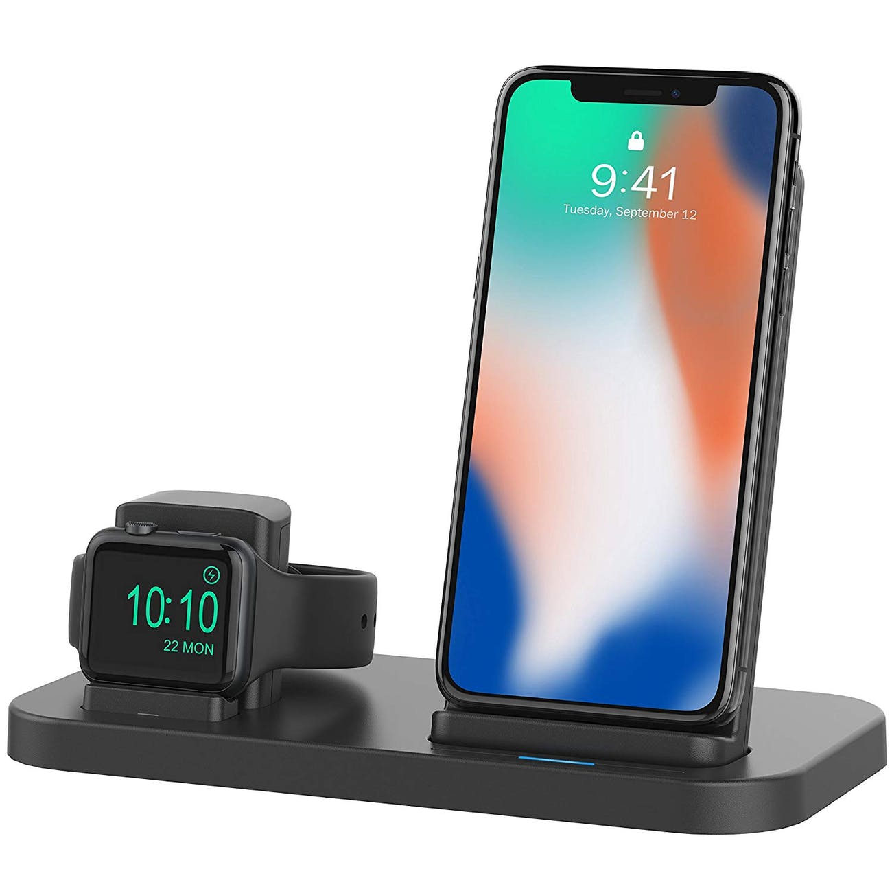 Beacoo 2 in 1 Phone Wireless Charger Stand & Charging Station Compatible for Apple Watch Holder for Apple iWatch Series 4/3/2/1/iPhone X Xs MAX/8 Plus/8 (Black)