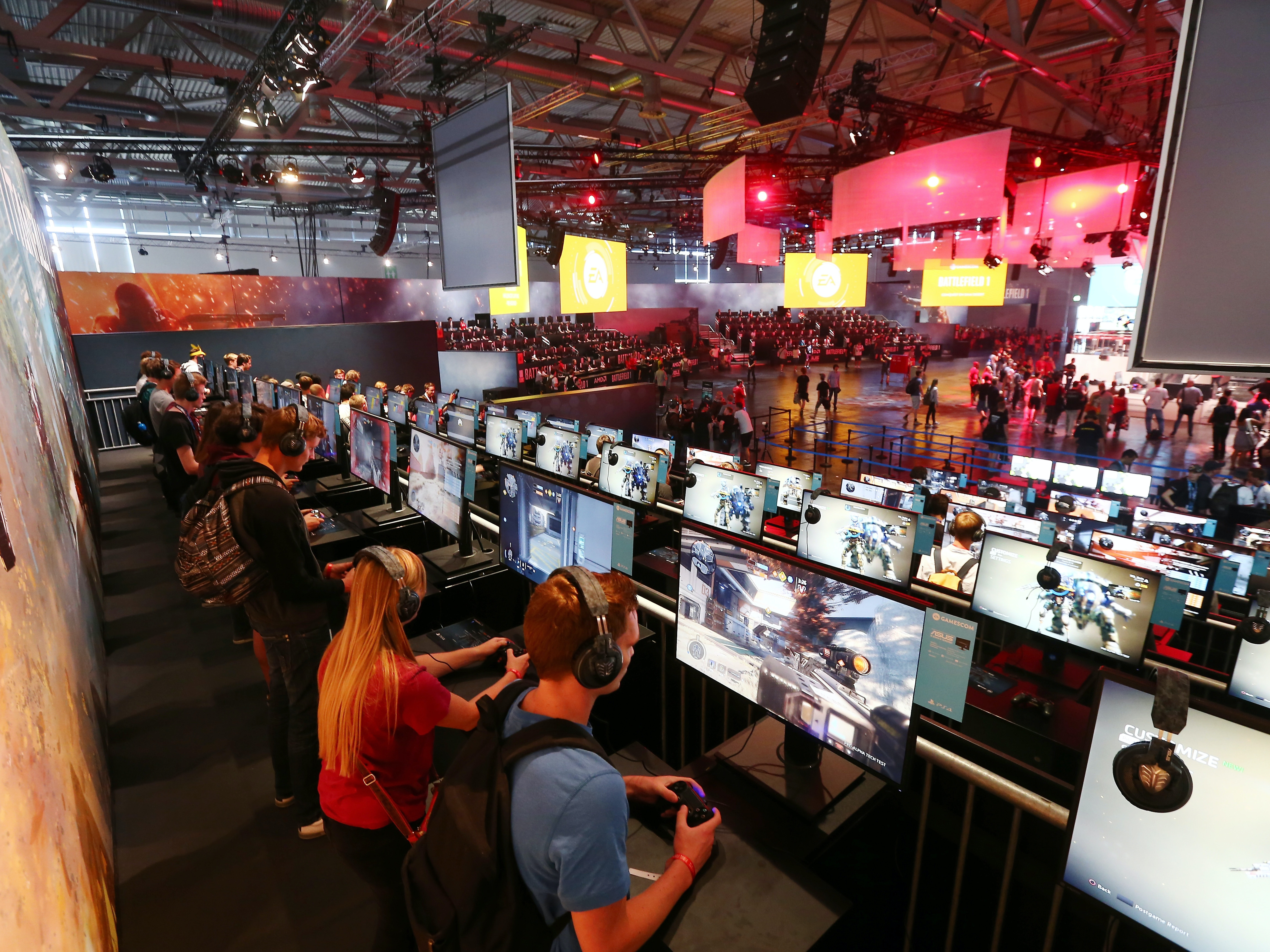 Most modern games, like those seen here at the Electronic Arts booth at Gamescom 2016, use voice actors.