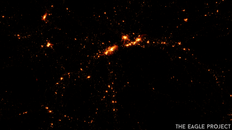 Numerical visualizations of the stars in galaxies forming in the early universe.