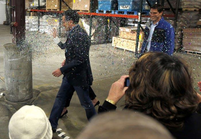 Mitt Romney being glitter-bombed in 2012