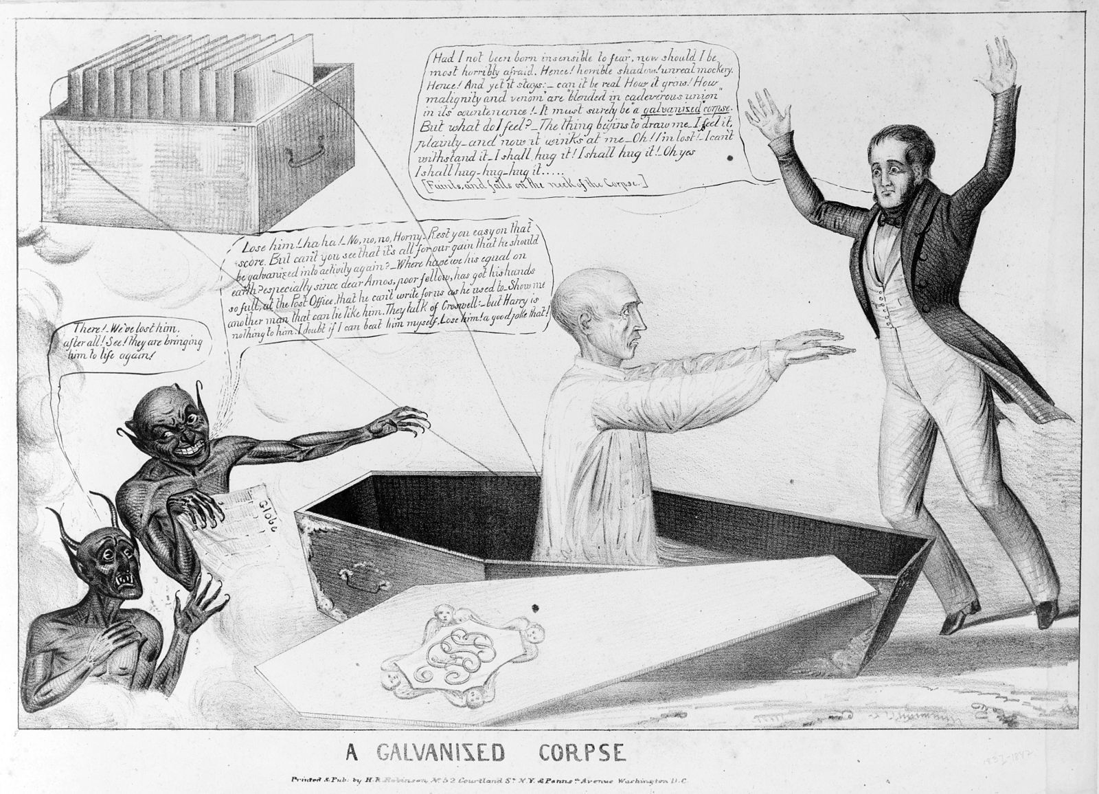 A cartoon commenting on galvanism in 1836.