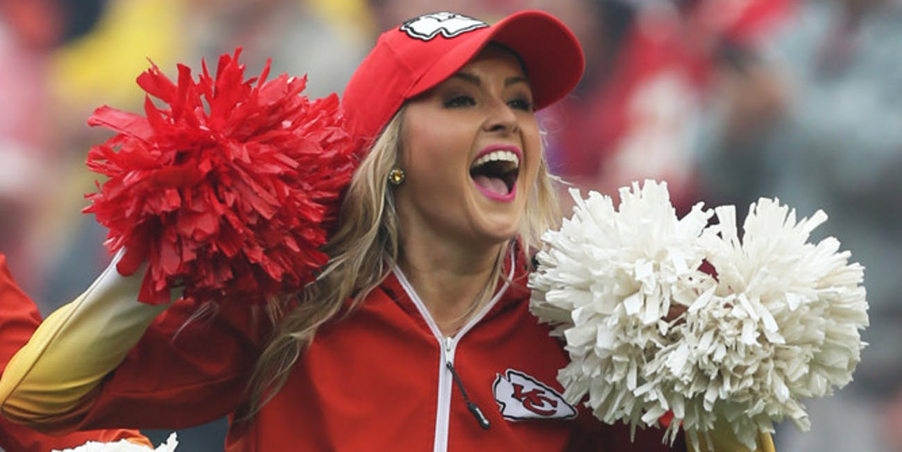 p.p1 {margin: 0.0px 0.0px 0.0px 0.0px; font: 18.0px Georgia}    A Kansas City Chiefs cheerleader performs during an NFL game between the Jacksonville Jaguars and Kansas City Chiefs on October 7, 2018 at Arrowhead Stadium in Kansas City, MO.