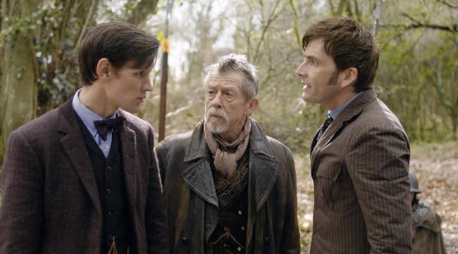 Matt Smith's 11th Doctor, John Hurt's War Doctor, and David Tennant's 10th Doctor in 'The Day of the Doctor.'