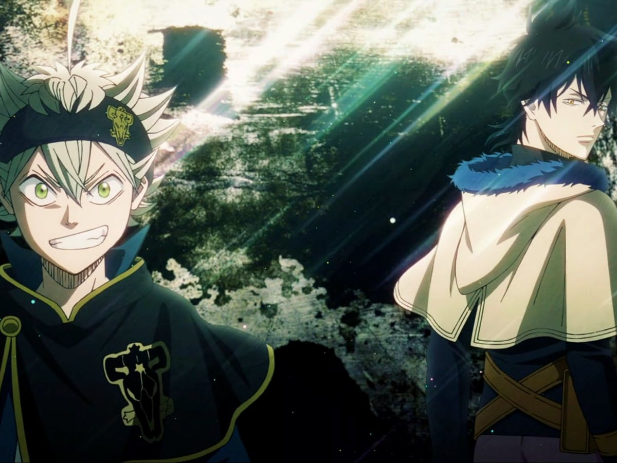 Asta and Yuno, the main characters of the anime 'Black Clover', which is available to stream on Crunchyroll, hulu, and Funimation.