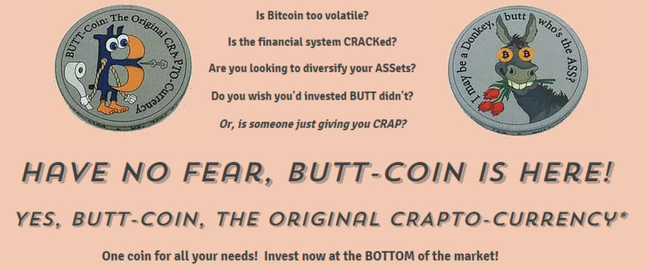 Buttcoin's main banner.