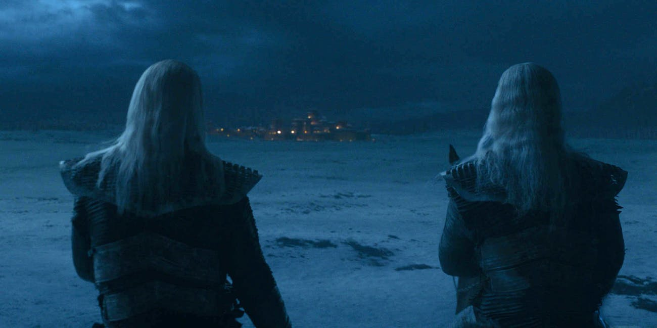 "Still photo of two White Walkers from 'Game of Thrones' Episode 2 ""A Knight of the Seven Kingdoms"""