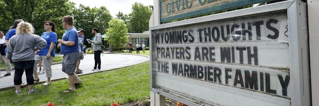 WYOMING, OH - JUNE 15: Friends and supporters of Otto Warmbier, the 22-year-old college student who was released from a North Korean prison on Tuesday, gather together to show their support for the Warmbier family June 15, 2017 in Wyoming, Ohio. Otto Warmbier spent 17 months in a North Korean prison after being sentenced to 15 years for allegedly attempting to steal a propaganda poster. Warmbier is currently in a coma at the University of Cincinnati Medical Center. (Photo by Bill Pugliano/Getty Images)