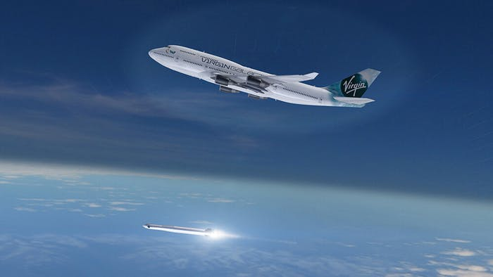 Virgin Orbit's new LauncherOne rocket launches from Cosmic Girl, a Boeing 747-400 aircraft modified to launch microsatellites.