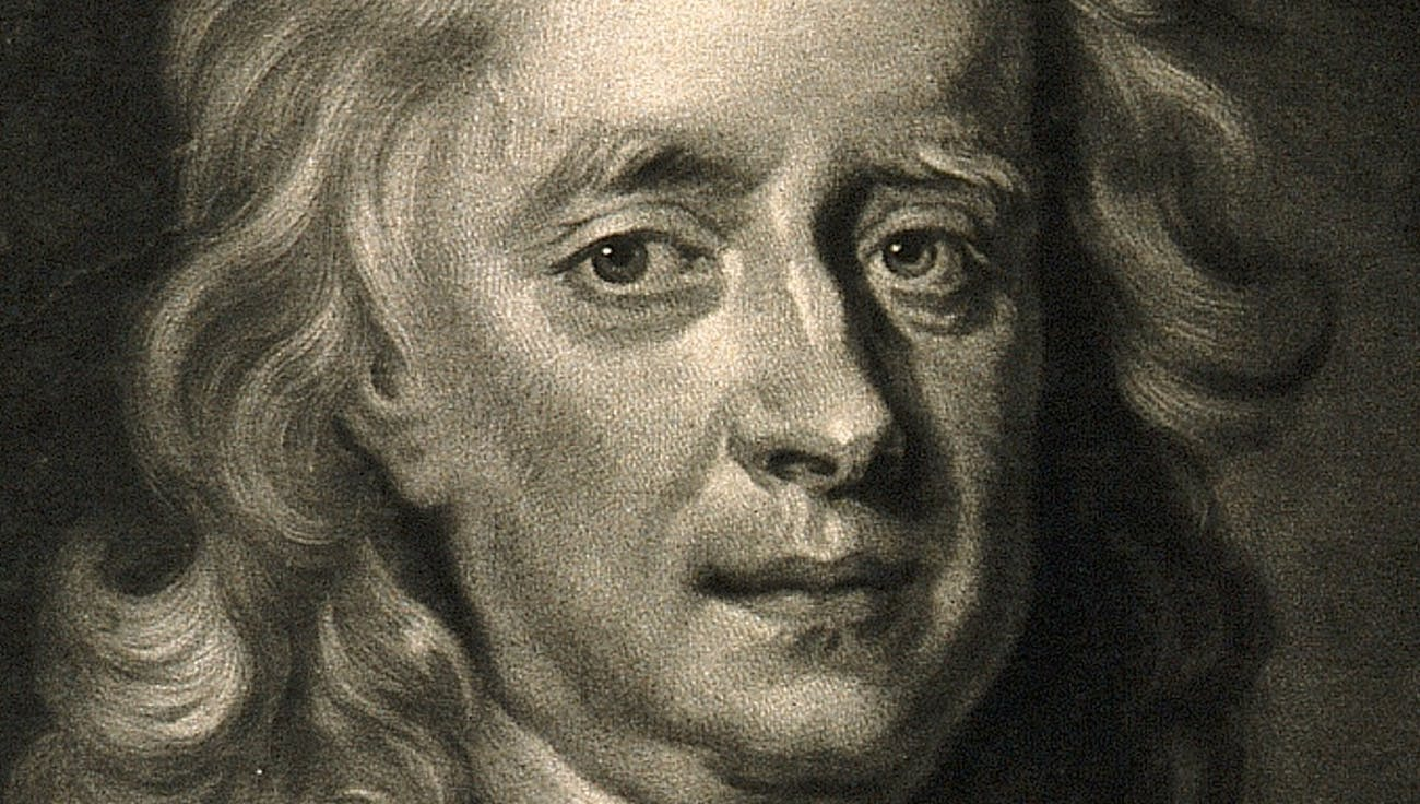 V0004273 Sir Isaac Newton. Mezzotint by J. MacArdell after E. Se
