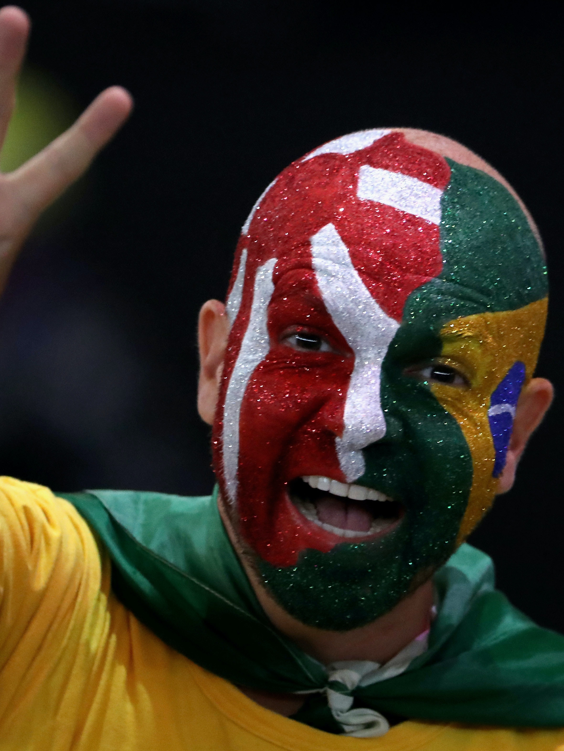 RIO DE JANEIRO, BRAZIL - SEPTEMBER 18:  A fan in the crowd celebrates with face paint representing the flags of Japan and Brazil during the closing ceremony of the Rio 2016 Paralympic Games at Maracana Stadium on September 18, 2016 in Rio de Janeiro, Brazil.  (Photo by Friedemann Vogel/Getty Images)
