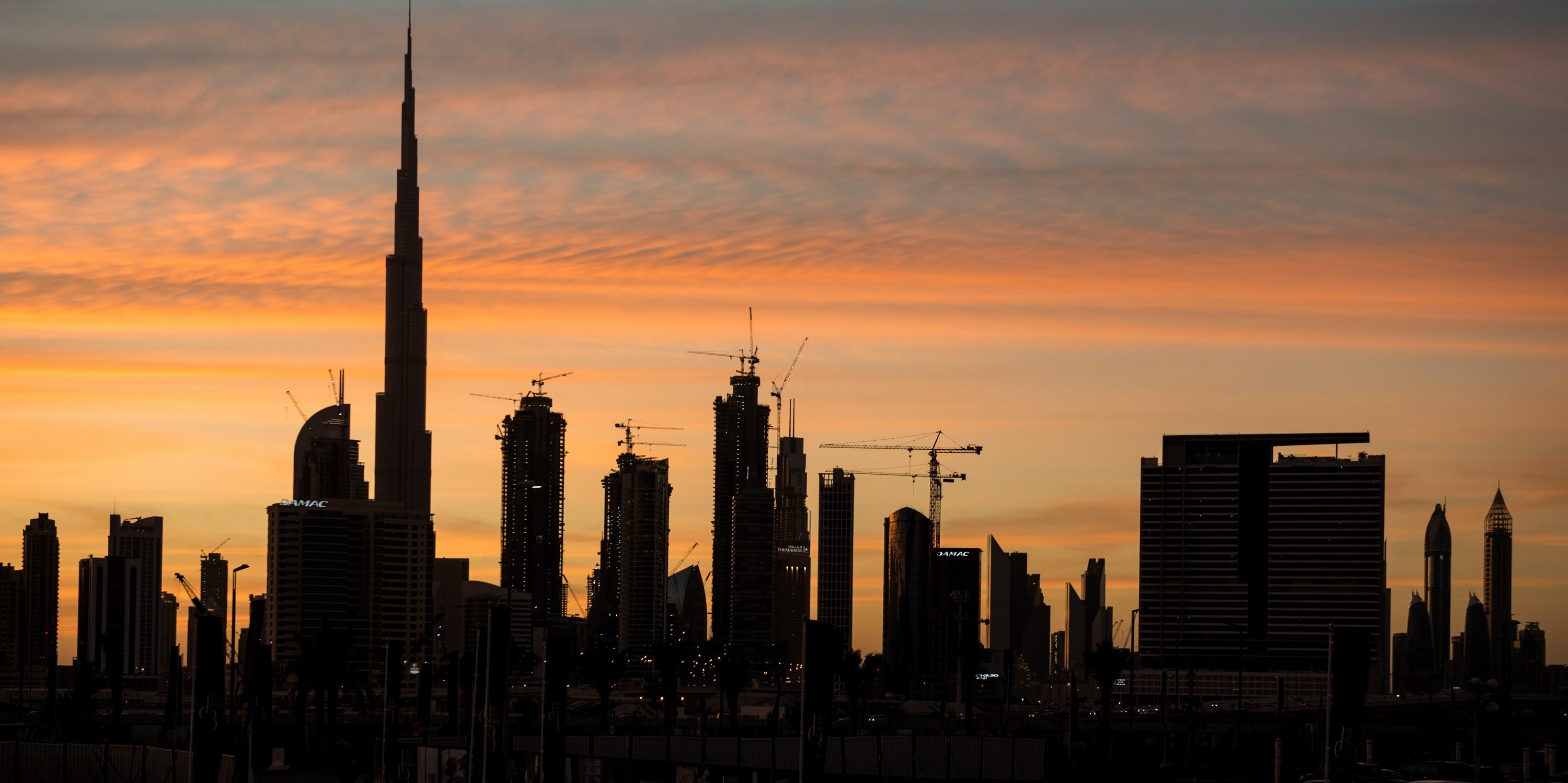 DUBAI, UNITED ARAB EMIRATES - APRIL 02:  A general view of the Dubai skyline on day 3 of Fashion Forward Fall/Winter 2016 held at the Dubai Design District on April 2, 2016 in Dubai, United Arab Emirates.  (Photo by Cedric Ribeiro/Getty Images)