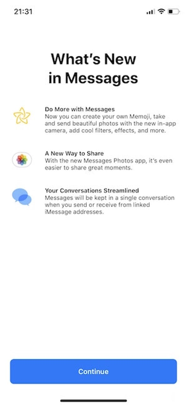 apple message ios 12 update