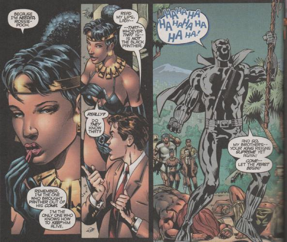 A Black Panther lookalike frightens Wakandan nationals in a Christopher Priest comic.