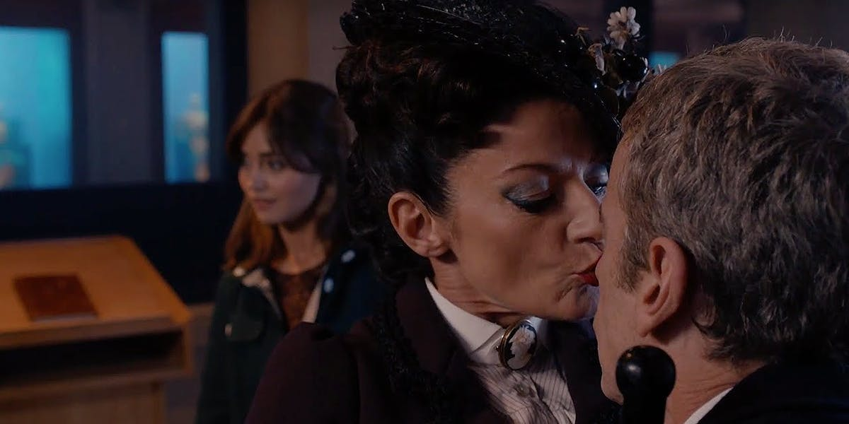 Michelle Gomez as Missy and Peter Capaldi as the Doctor