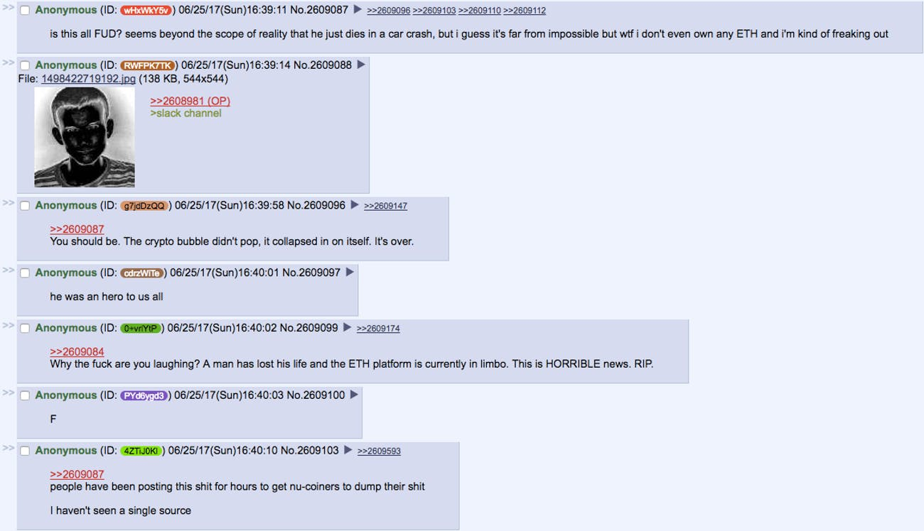 Screenshot of the 4chan thread with some skeptics and some hoaxers.