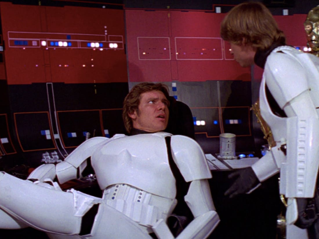 Han Solo in Stormtrooper armor in 'Star Wars'