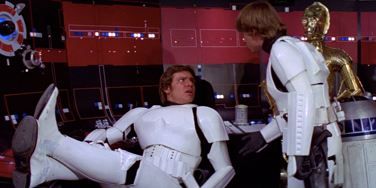 Han Solo in Stormtrooper armor in 'Star Wars'