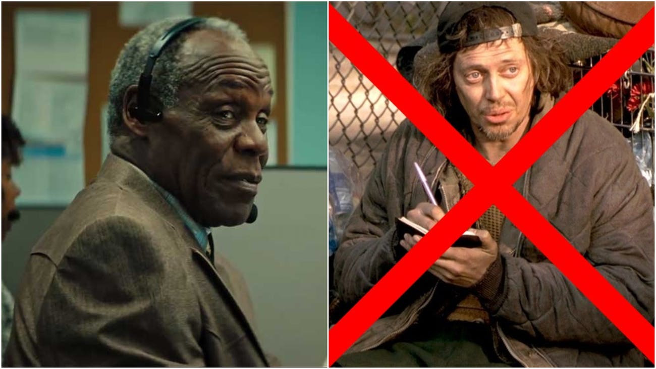 Danny Glover as Langston in 'Sorry to Bother You' and Steve Buscemi in the iconic role of the Homeless Man in 'Big Daddy'.
