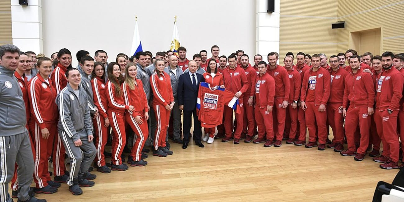 Russian President Vladimir Putin meets Russian athletes on January 31, 2018.