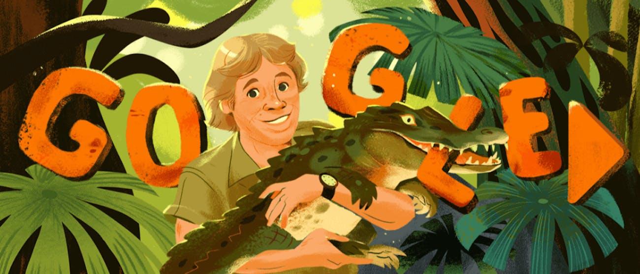 Steve Irwin's Google Doodle.