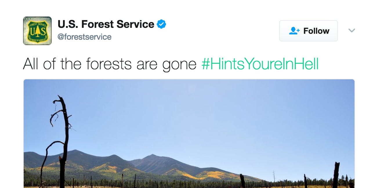 forest service tweet about hell