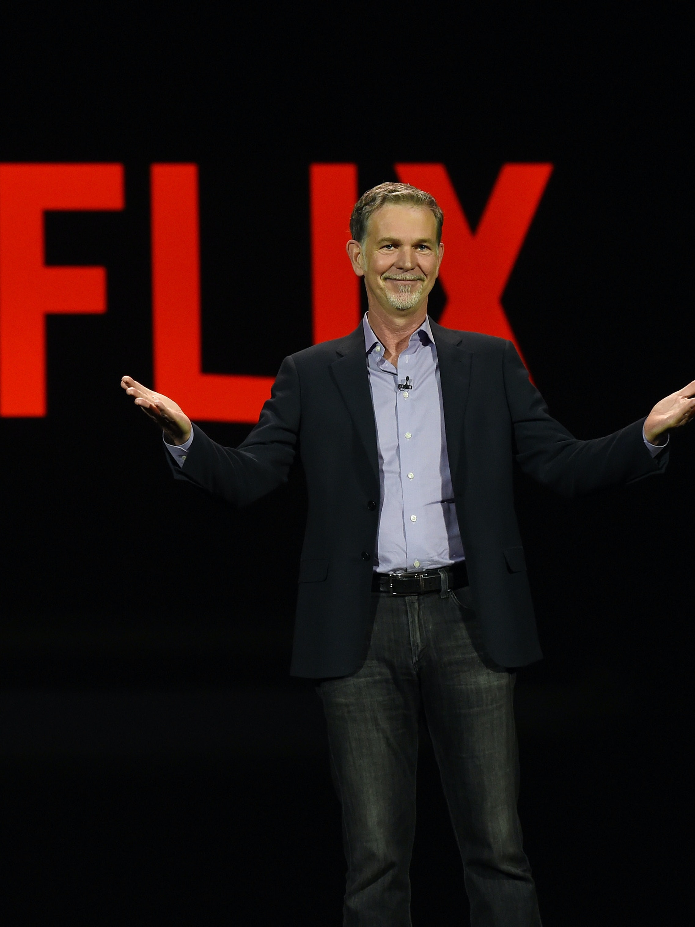 LAS VEGAS, NV - JANUARY 06:  Netflix CEO Reed Hastings delivers a keynote address at CES 2016 at The Venetian Las Vegas on January 6, 2016 in Las Vegas, Nevada. CES, the world's largest annual consumer technology trade show, runs through January 9 and is expected to feature 3,600 exhibitors showing off their latest products and services to more than 150,000 attendees.  (Photo by Ethan Miller/Getty Images)