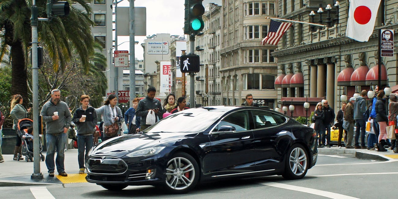 Tesla Model S electric car at Union Square, San Francisco
