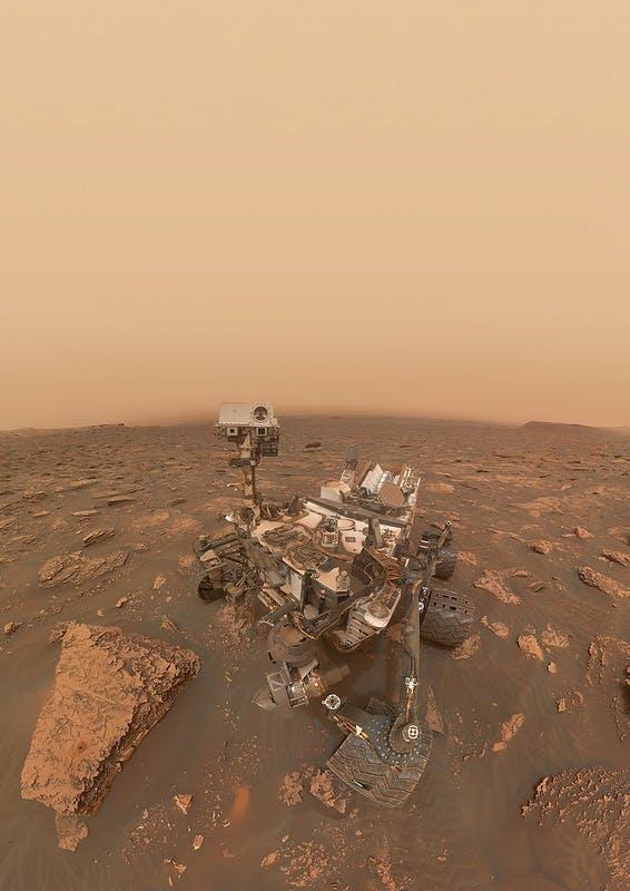 curiosity rover selfie dust storm