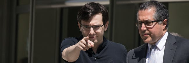 NEW YORK, NY - AUGUST 4: Former pharmaceutical executive Martin Shkreli points as he exits the courthouse after the jury issued a verdict in his case at the U.S. District Court for the Eastern District of New York, August 4, 2017 in the Brooklyn borough of New York City. Shkreli was found guilty on three of the eight counts involving securities fraud and conspiracy to commit securities and wire fraud. (Photo by Drew Angerer/Getty Images)