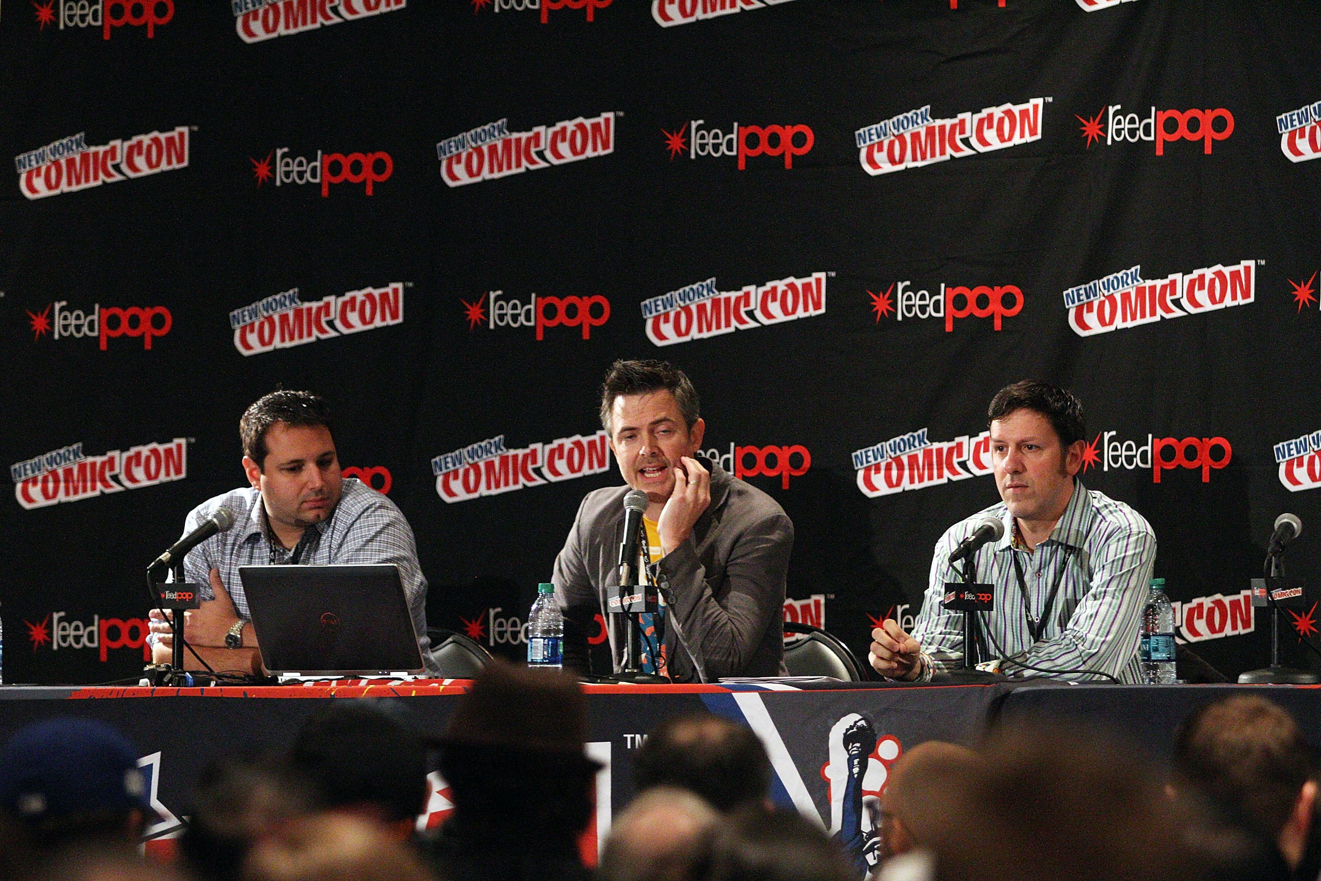 Joe Ninivaggi, Steve Bono and Steve Evans attend the Hasbro Star Wars toy launch unveiling at New York Comic-Con 2015.