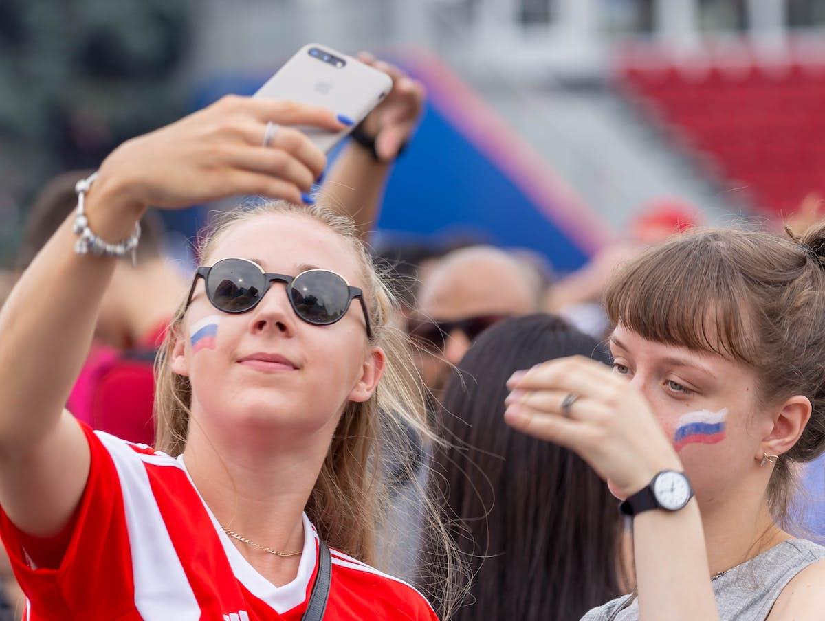 Russian girls taking a selfie