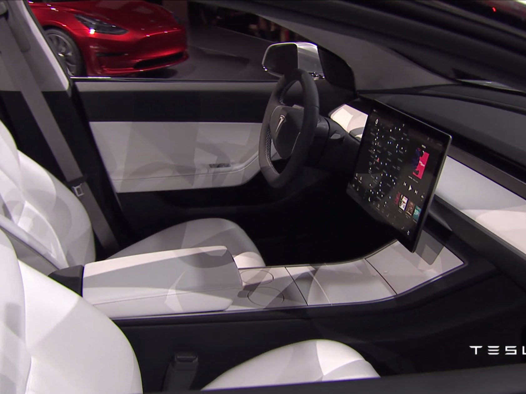 The Model 3's interior, as shown during its unveiling.