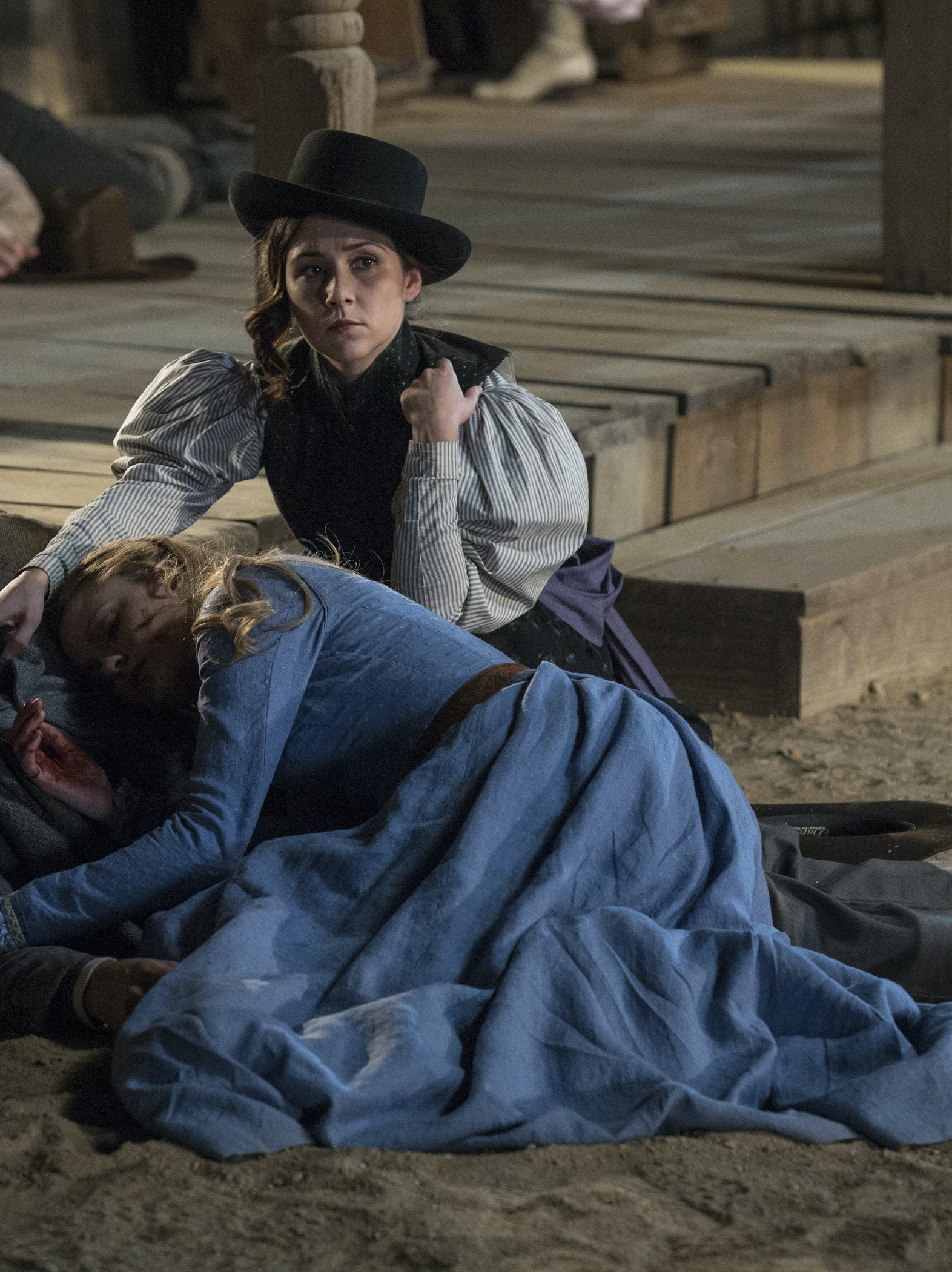 James Marsden, Evan Rachel Wood, and Shannon Woodward in 'Westworld'