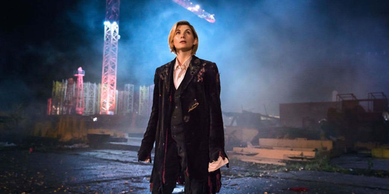 """Jodie Whittaker in """"The Woman Who Fell to Earth."""""""