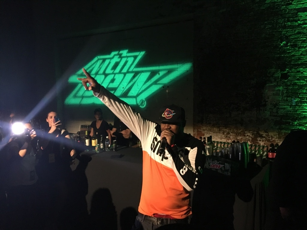 Ghostface Killah shows up at a Mountain Dew sponsored drone event.